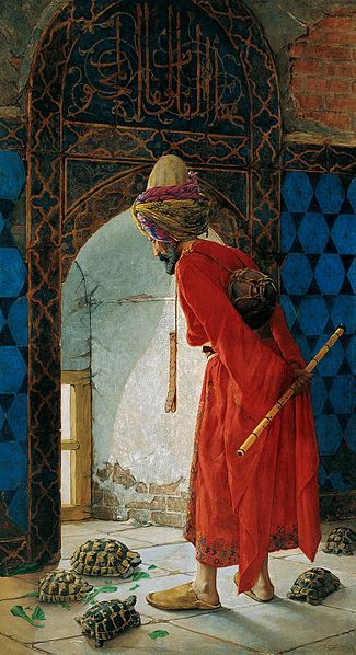 "But I won't spare you every detail!  This is Osman Hamdi Bey's most famous painting, The Turtle Trainer, 1906.  Something that interested me in the wall text was the assertion that while Hamdi Bey was clearly working in an Orientalist style, his paintings did not include the sexual innuendo and/or violence present in Orientalist paintings by European artists.  So this is romanticism without exotic ""othering.""  I took this photo from wikipedia, by the way."