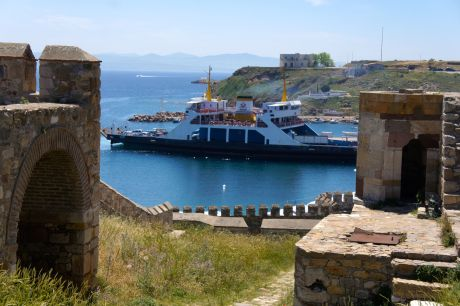 A view of the harbor from the fortress.  That was the last ferry into the island before the race, and if there were any runners on the boat, they were definitely cutting it close!